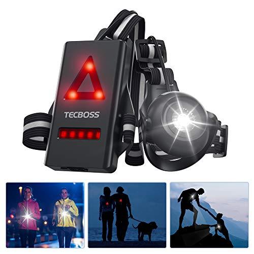 TECBOSS Lauflicht, Wiederaufladbare USB LED Lauflampe Sport, 500 Lumen Einstellbarer Abstrahlwinkel, 2 Beleuchtungsmodi fr Lufer Jogger Sport im Freien Gehen Angeln...