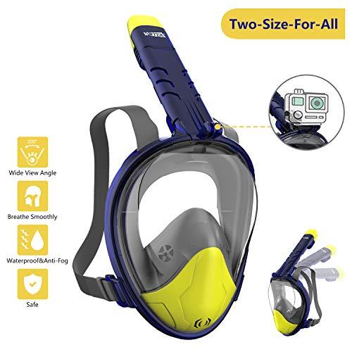 WOTEK Schnorchelmaske Vollmaske Tauchmaske Vollgesichtsmaske Tauchermaske für Kinder und Erwachsene-Snorkel Mask Full face mit Rundumsicht, Anti-Fog Anti-Leck,...