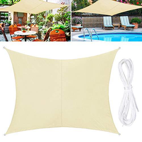 TedGem Sonnensegel, Sonnensegel Wasserdicht, Sonnensegel Rechteckig, Sonnenschutz Balkon, Sonnensegel 2x3 Hergestellt aus hochwertigem Polyester, 160 g / m2. für...