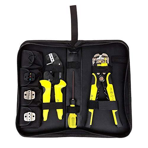 Crimpzangen Abisolierzange Set, Meterk 4 In 1 Kabelschuhzange Set mit Aderendhülsenzange, Ratschen-Terminal 0.14-6 mm² und Auswechelbarem Crimpwerkzeug