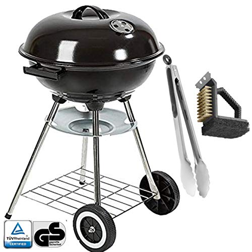 Barbecue charcoal kettle grill large grill with lid Ø 41cm mobile tripod with ash container including grill brush grill tongs