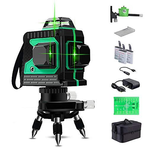 Kreuzlinienlaser 25M, THL&INEW kreuzlinielaser grün selbstnivllierend 3 x 360° Mit magnetischer Wandhalterung, 3D 12 Liien, IP 54 Linienlaser Vertikale und...