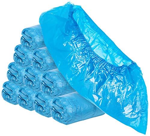 com-four® 100x Einweg Überziehschuhe 3g je Überzieher - Plastik Schuhüberzieher - Einmal-Schuh wasserdicht - Überschuhe in Einheitsgröße