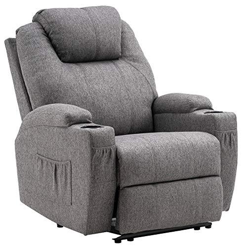 MCombo Elektrisch Relaxsessel Massagesessel Fernsehsessel Liegefunktion Vibration Heizung 7061 neues Modell (Grau)