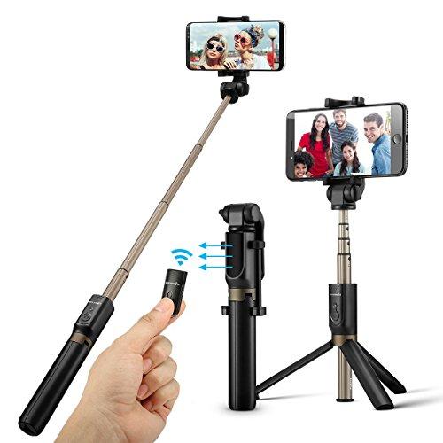 BlitzWolf Bluetooth Selfie Stick Stativ, 3 in 1 Erweiterbar Monopod Wireless Selfie-Stange Stab 360°Rotation mit Bluetooth-Fernauslöse für iPhone Android Samsung...