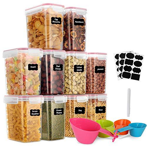 GoMaihe 1.6L Vorratsdosen 10 Set, Aufbewahrungsbox Küche Luftdicht Behälter aus Plastik Mit Deckel, Vorratsgläser zur Aufbewahrung Nudeln, Müsli, Reis, Mehl, und...