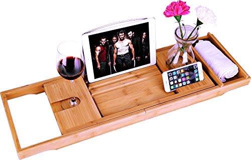 bamboe Badkuip Caddy Bad Tub Tray met Verlengde pagina's opgericht in boek tablet-houder mobiele telefoon Tray & geïntegreerde Wijnglas-houder en andere...