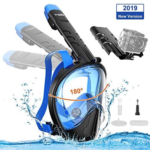 WOTEK Tauchmaske, Faltbare Vollmaske Schnorchelmaske Vollgesichtsmaske mit 180 Sichtfeld und Kamerahaltung, Dichtung aus Silikon Anti-Fog und Anti-Leck Technologie...