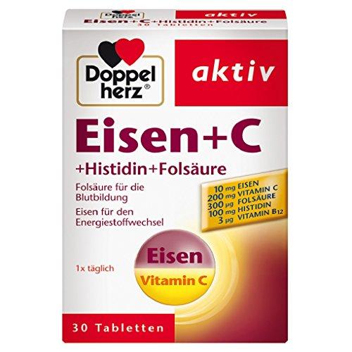Doppelherz Eisen + C + Histidin + Folsäure – Eisen unterstützt die normale Bildung der roten Blutkörperchen und trägt zum normalen Energiestoffwechsel bei –...