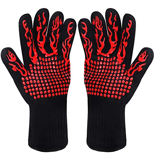 Fesoar Grillhandschuhe,Ofenhandschuhe Hitzebeständig BBQ Handschuhe Kochenhandschuhe bis zu 800°C 1 Paar rutschfeste mit Silikon EN407 für...
