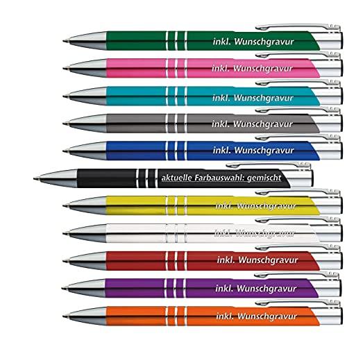 50 x Metallkugelschreiber mit 3 Zierringen inkl. Wunsch-Gravur Farbe | GEMISCHT | wählen Sie aus 20 Schriftarten und 11 verschiedenen Farben Ihren...