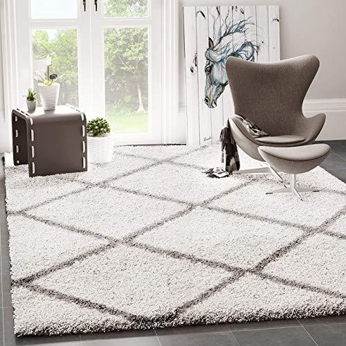 VIMODA Shaggy Teppich Rauten Design Creme Grau Modern, Maße:140x200 cm