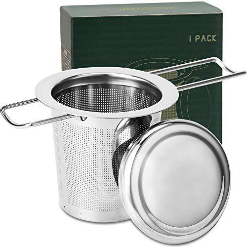 HAUSPROFI Teesieb Teefilter und Deckel/Abtropfschale, 304 Edelstahl Tee-Sieb für losen Tee, Faltbare Griffgestaltung Passend für die Meisten Tee-Tassen und...