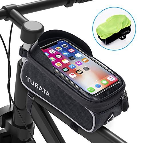 TURATA Fahrrad Rahmentasche Wasserdicht Fahrradtasche Lenkertasche Handyhalterung Handyhalter Handytasche Oberrohrtasche mit Kopfhörerloch Reflektierend für...