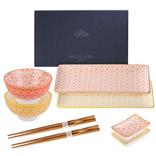 Vancasso Sushi Set, Natsuki 8-teilig Bunte Sushi Teller Porzellan japanische ESS Service Geschirrset für 2 Personen, Beinhaltet Sushi Teller, Schalen,...