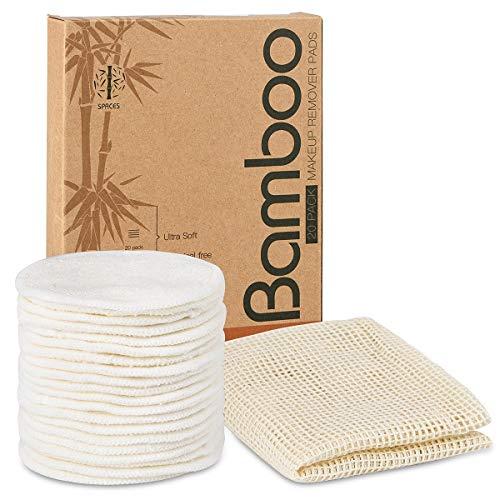 SPACES®-pestävät meikinpoistotyypit | 20 kappaletta bambusta ja puuvillasta valmistettuja uudelleen käytettäviä puuvillatyynyjä Ympäristöystävällinen | Pehmeä ja hellä kasvokudos | INCL ....