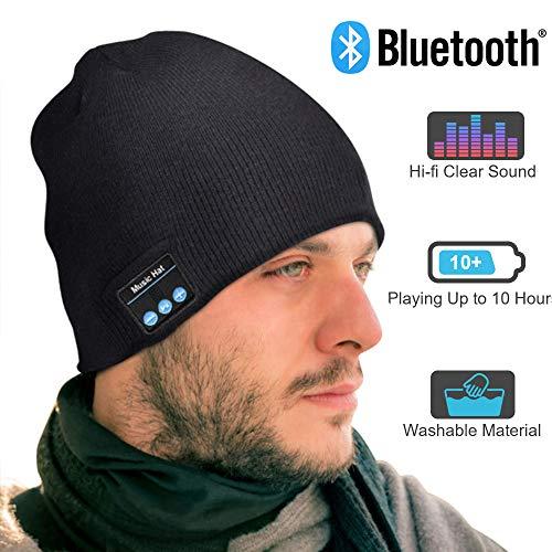 EVERSEE Bluetooth Mütze Männer & Frauen Geschenke, Bluetooth Mütze mit Bluetooth 5.0 Kopfhörern, Unisex Winter Strickmütze mit Kopfhörern Bluetooth...