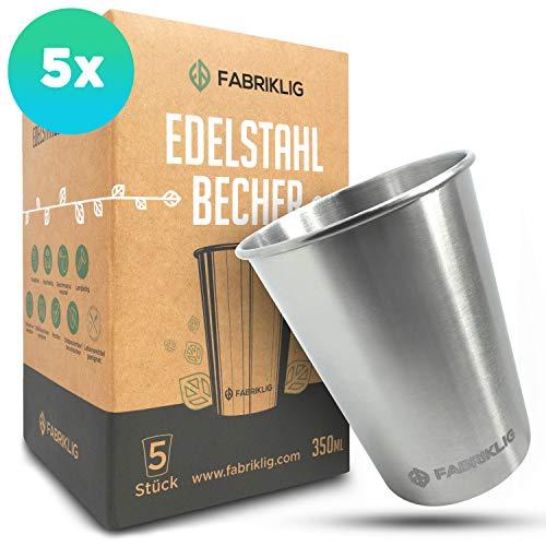 Fabriklig® - Edelstahl Becher [5er Set] 350ml - nachhaltiger Trinkbecher für Camping und Outdoor - Edelstahlbecher stapelbar und geschmacksneutral