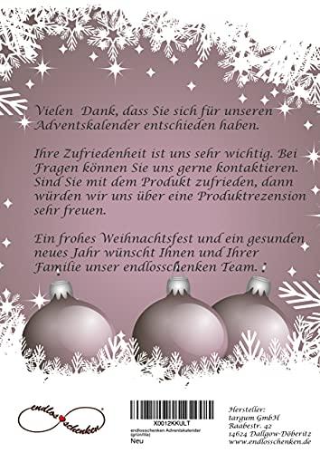 endlosschenken Adventskalender zum Befüllen - Weihnachtskalender zum selber Basteln mit großen Tüten Kraftpapier Frauen (rosa/schwarz)