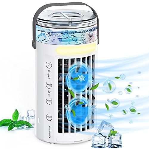 Mobile Klimageräte, Manwe 5 IN 1 Klimaanlage Mini Luftkühler Tragbare USB Verdunstungskühler Mit Wasserkühlung, Persönlich Ventilator Mit Nachtlicht,...