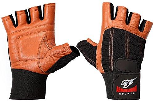 Fitness Handschuhe Echt Leder mit Handgelenkbandagen Wrist Wraps – perfekt für Sport Fitness Gym und Crossfit (S, Braun)