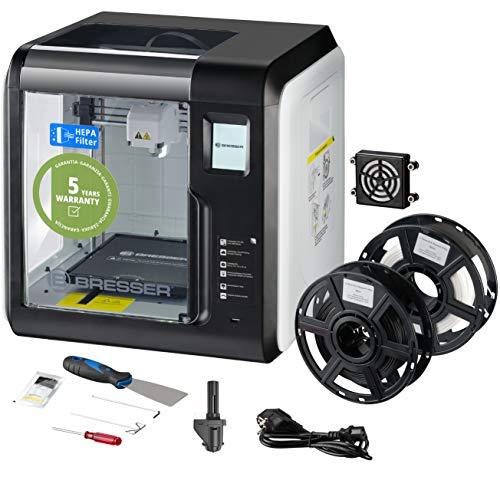 Bresser 3D Drucker mit WLAN und integrierter Kamera, inklusive HEPA Filter für saubere Abluft, Spachtel, 2 Extruder-Düsen (1x Ersatz), 2 x PLA Filament (weiß,...