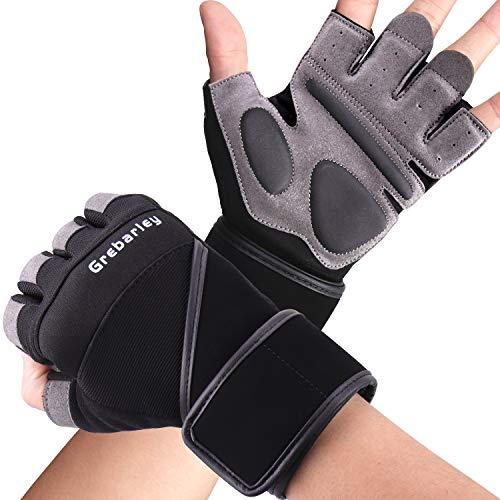 Grebarley Fitness Gloves, Training Gloves, Weight Lifting Gloves for Weight Training, Bodybuilding, Sports Gloves for Women and Men (Black, L)