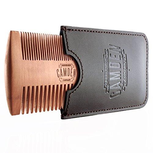 Ultralight Bartkamm von Camden Barbershop Company ● Birnbaumholz ● inkl. Etui ● für die tägliche Bartpflege & das Auftragen von Bartöl/Beard Balm ●