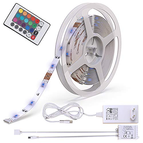 BKLicht LED Stripes, 5m Stripe, fairy lights, ribbon, stripes, LED strip, LED light strip, LED strips, LED light string, white, colorful, incl. Remote control, incl ....