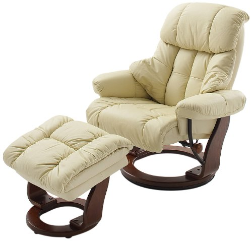 Robas Lund, Easy chair, Relaxing armchair, Calgary with footstool, Leather / cream, 90 x 91-122 x 89-104 cm, 4023CK5