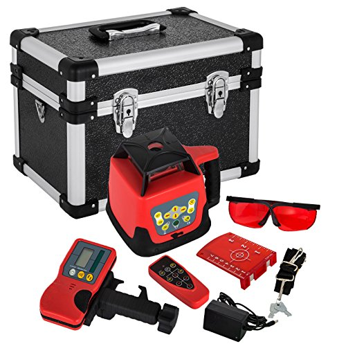 Anhon Rotary Laser Red or Green Self Leveling Construction Laser with Line Laser 360 Degree with Remote Control and Laser Goggles with 5M Dipstick and 1,65m ...