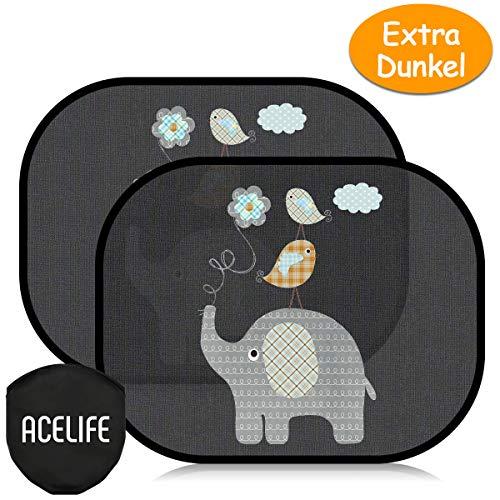 AceLife Auto Sonnenshutz Baby, Extra Dunkle Universeller Auto Sonnenblende 2 Stück mit UV Schutz, Selbsthaftende Sonnenblenden für Kinder, Autofenster Sonnenschutz...