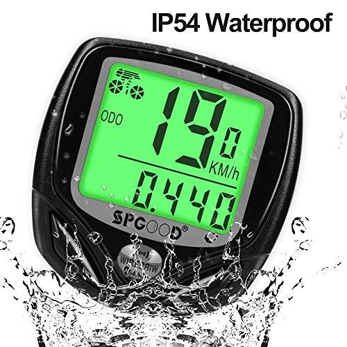 SPGOOD Bike Computer Wireless IP54 Waterproof 16 Functions Bike Computer Wireless LCD Speed Bike Speedometer Wireless Bike Computer Speedometer Black