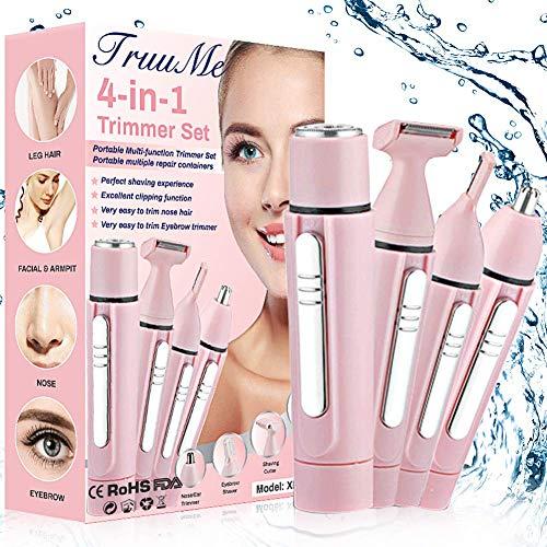 Gesichtshaarentferner für Frauen,Haarentfernung Gesicht Damen,Haarentferner für Frauen,4 in 1 Haarentfernung für Körper, Nase, Gesicht und...