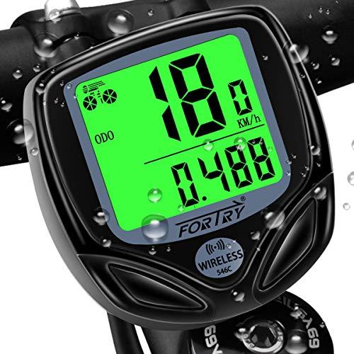 FORTRY Fahrradcomputer Kabellos 16 funktionen IP54 Wasserdichtes LCD-Display - Universeller intelligenter Radcomputer mit EIN Knopf Wecken Funktion und Tag+Nacht...