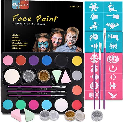 Kinderschminke Set, Professionelle Schminkfarben Sicher Kinder Gesichtsfarbe für empfindliche Haut, Schminkfarbe Kit Körperfarben Materialien 14 große waschbare...