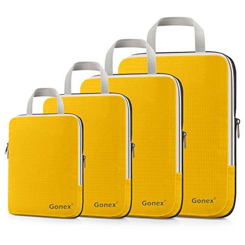 Compression Packing Cubes 3/4er Set, Gonex Kleidertaschen 4-teilig Verpackungswürfel, Kleidertaschen Set, Kofferorganizer Reise Würfel, Orangegelb