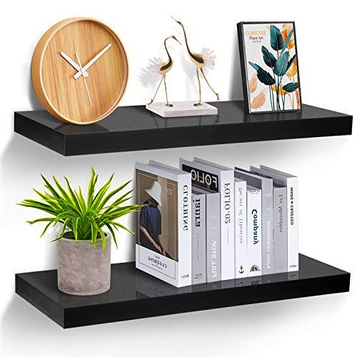 STOREMIC Wandregal schwarz, Regale für die Wand 2er-Set, Wandregal schwarz 20 kg Gewicht, modern Deko\Ausstellungsregale für mehr Platz L60 x B23,5 cm für...