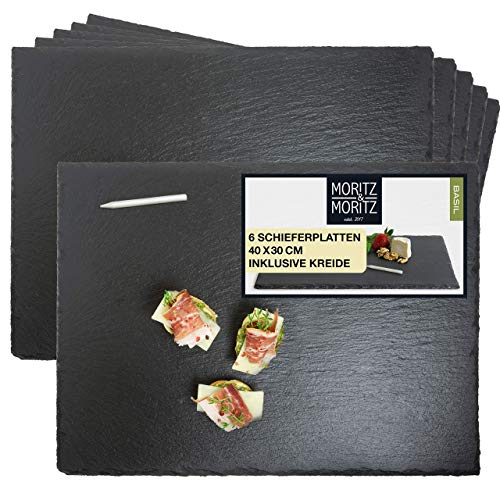 Moritz & Moritz 6 x Schieferplatten Servierplatte 30 x 40 cm mit Kreidestift - Schieferplatte als Buffet Platte zum Anrichten und Dekorieren