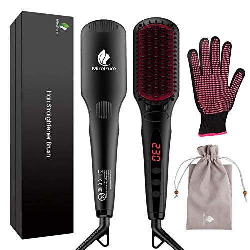 MiroPure 2-in-1 hair straightener with MCH technology, hair brush with heat-resistant gloves and temperature lock, 16 temperature settings, ...