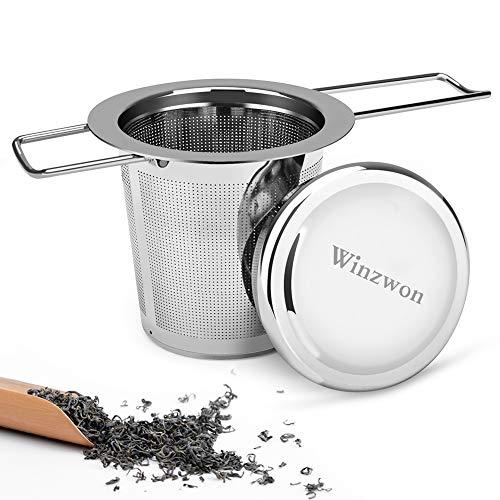 Winzwon Teesieb, Teefilter mit Deckel, Abtropfschale, 304 Edelstahl TeeSieb für losen Tee, Premium Sieb, Faltbare Griffgestaltung Passend für die Meisten...