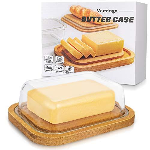 Vemingo Butterdose aus Glas mit Bambusdeckel für 250 g Butter, BPA-frei, transparent, Butter Dish Bambusabdeckung Butterdose Glas mit Deckel mit edler Verpackung