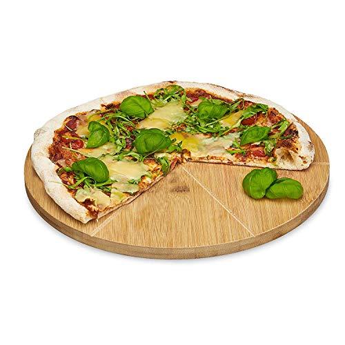 Relaxdays Pizzateller Bambus 33 cm Durchmesser, Schneidbrett aus Holz, schnittfestes Pizzabrett mit 6-facher Einteilung für gleichmäßig große Stücke, Holzteller...