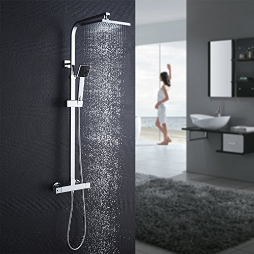 Auralum shower system with thermostatic mixer, shower tap thermostat with rain shower and hand shower, anti-scald shower system