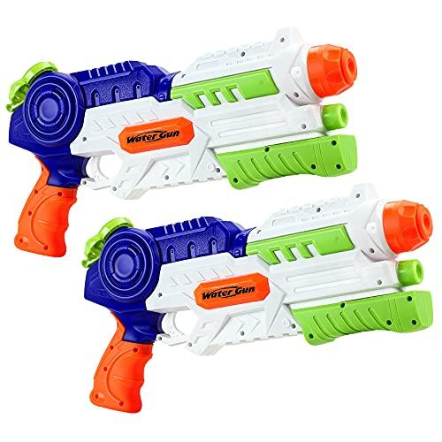 lenbest Wasserpistole, 2 Pack Wasser Blaster, 1.2L Großer Kapazität, Super Squirt Wasserpistolen - Sommer Partys, Pool, Garten Wasser Geschenk für Kinder Jungen...
