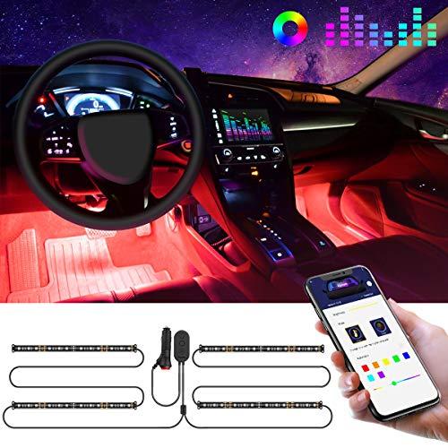 Govee LED Innenbeleuchtung Auto, 4pcs 48 LED Auto LED Strip, Upgrade Zwei-Linien-Design, Wasserdicht Beleuchtung APP Steuerbare mehrfarbig Musik Innenbeleuchtung mit...