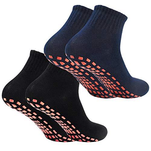2Paar Anti-Rutsch-Socken Yoga Socken Rutschsocken Stopppersocken ABS Socken für Erwachsene Männer Herren Antirutsch Sportsocken Baumwolle für Sport Yoga Pilates...