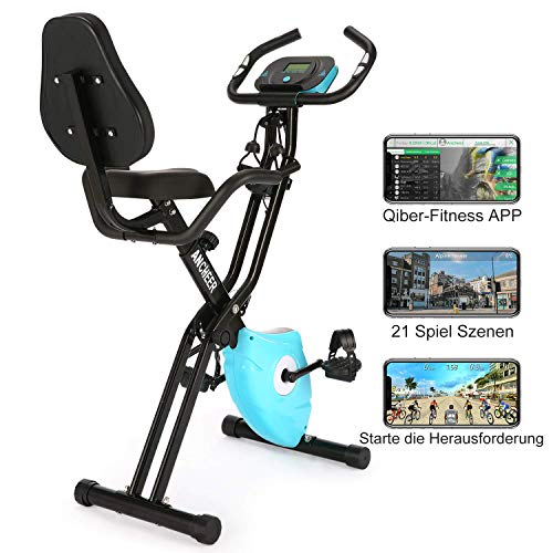 ANCHEER 2 in 1 Exercise Bike Fitness Bike, foldable F-Bike, Indoor Cycling Bike, Exercise Bike foldable for home, Fitness bike with 10 levels Adjustable bike ...