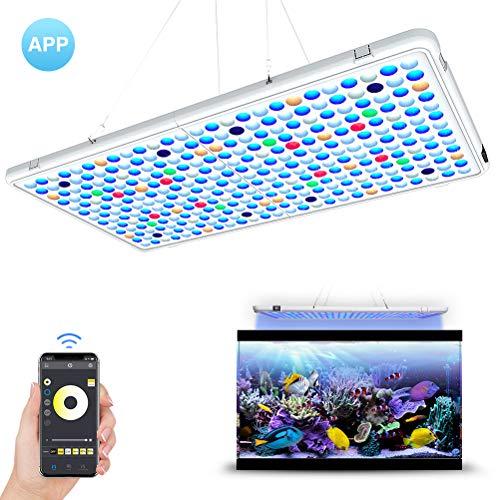 Relassy LED Aquarium Beleuchtung APP-Steuerung Automatische EIN/Aus 56x30cm Aquarium LED Lampe Dimmbar mit Timing-Funktion Vollspektrum AquariumLicht für Korallen,...