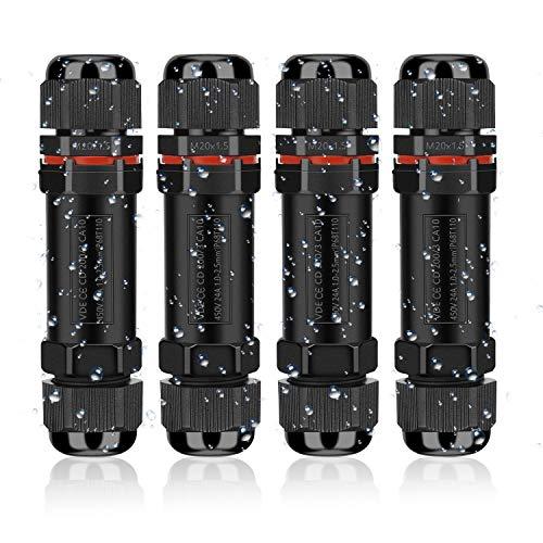Kabelverbinder Wasserdicht IP68, Verbindungsmuffe Erdkabel Verbindungsbox 3-polig für Ø1-13 mm Kabeldurchmesser, Verteilerdose Abzweigdose Außen Wasserdicht, 4...